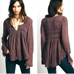 FREE PEOPLE Washed Bluebird Smocked Peasant Top